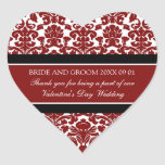 Valentine's Day Wedding Favour Tags Red Damask Heart Sticker