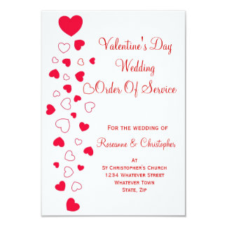 Valentines Day Wedding Order Of Service Card