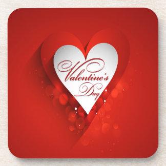 Valentine's Day White Heart Beverage Coasters