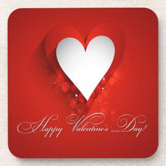 Valentine's Day White Heart - Customize Beverage Coasters