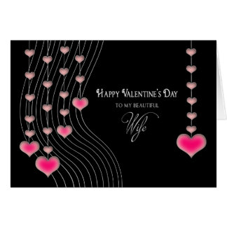 Valentine's Day - Wife -Black/Pink Hearts Card