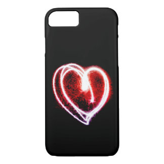 Valentine's Day with glowing red heart iPhone 7 Case