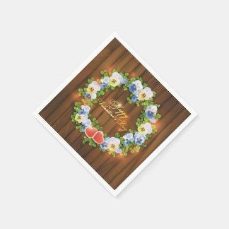 Valentine's Day Wreath on Wooden Background Paper Napkins