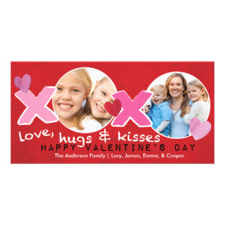Valentine's Day XOXO Photo Circles Holese Red Personalized Photo Card