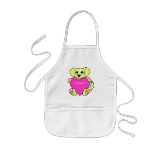Valentine's Day Yellow Dog with Blaze & Pink Heart Kids Apron