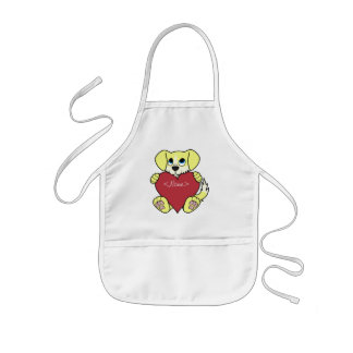 Valentine's Day Yellow Dog with Blaze & Red Heart Kids Apron