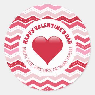 Valentine's Day Zigzag Classic Round Sticker