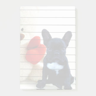 Valentines French Bulldog Post it notes 4x6 pad