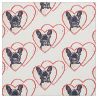 Valentines French Bulldog puppy pattern Fabric