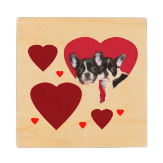 Valentine's French Bulldogs Maple Wood Coaster