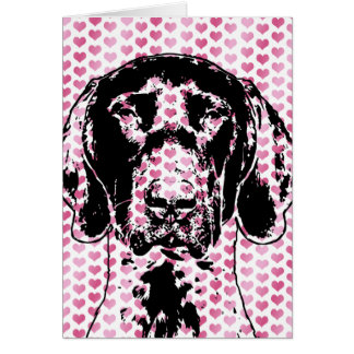 Valentines German Shorthair Pointer Dog Silhouette Card