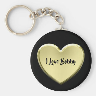 Valentines Gold Heart on Black Key Ring