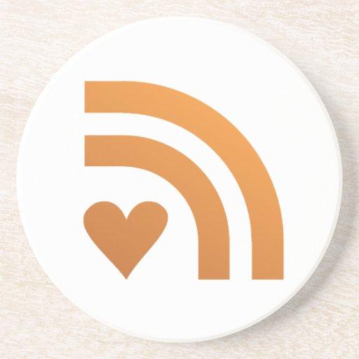 Valentines Heart Orange ~ Love On A Drinks Coaster