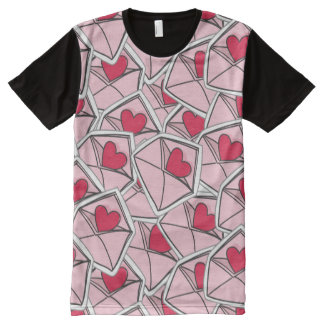 Valentine's Hearts on Envelopes All-Over Print T-Shirt