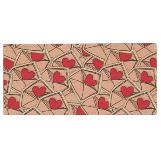 Valentine's Hearts on Envelopes Wood USB 2.0 Flash Drive