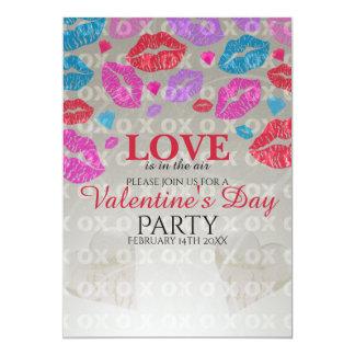 Valentine's invite- Colourful kisses 13 Cm X 18 Cm Invitation Card