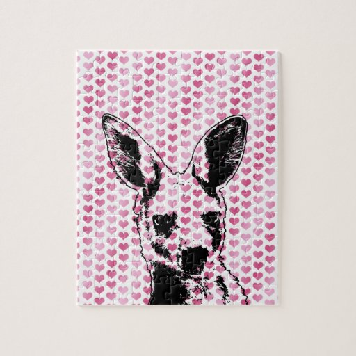 Valentines - Kangaroo Silhouette Jigsaw Puzzle