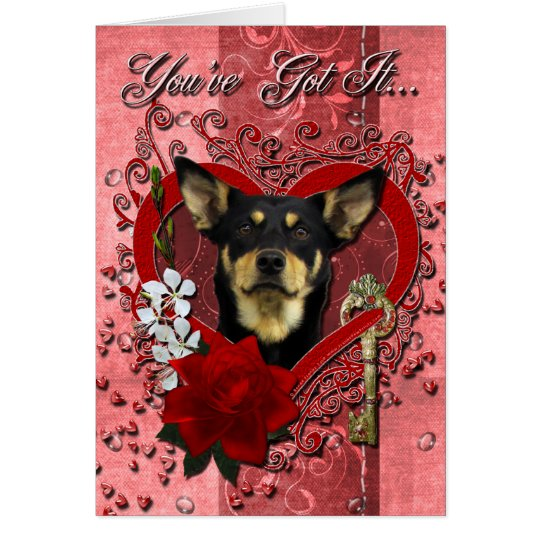 Valentines - Key to My Heart - Australian Kelpie Card
