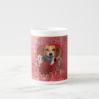 Valentines - Key to My Heart - Beagle Bone China Mug