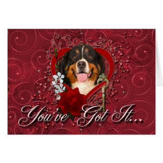 Valentines - Key to My Heart -Bernese Mountain Dog Card