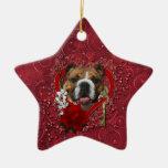 Valentines - Key to My Heart - Bulldog Ceramic Star Decoration