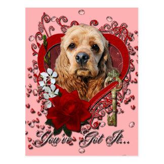 Valentines - Key to My Heart - Cocker Spaniel Postcard