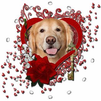 Valentines - Key to My Heart - Golden Retriever - Standing Photo Sculpture