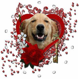 Valentines - Key to My Heart - Golden Retriever Standing Photo Sculpture