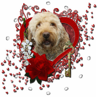 Valentines - Key to My Heart - GoldenDoodle Standing Photo Sculpture