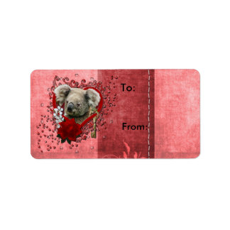 Valentines - Key to My Heart - Koala Bear Address Label
