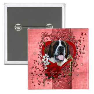Valentines - Key to My Heart - Saint Bernard - Mae Buttons