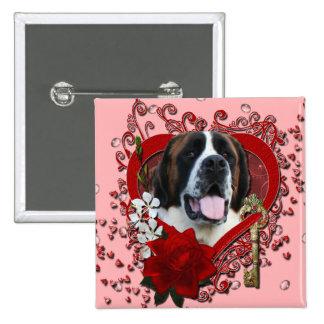 Valentines - Key to My Heart - Saint Bernard - Mae Pins