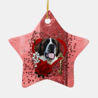 Valentines - Key to My Heart - Saint Bernard - Mae Christmas Tree Ornaments