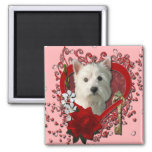 Valentines - Key to My Heart West Highland Terrier Square Magnet