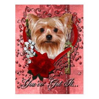 Valentines - Key to My Heart - Yorkshire Terrier Postcard