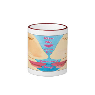 Valentine's Kiss Me Quick Ringer Coffee Mug