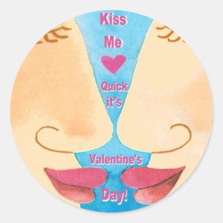 Valentine's Kiss Me Quick Classic Round Sticker