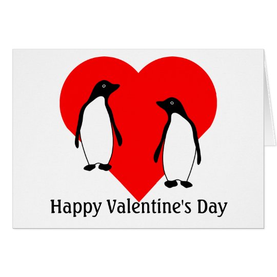 Valentines Penguin Love Couple Greeting Card