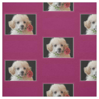 Valentines poodle dog pattern Fabric