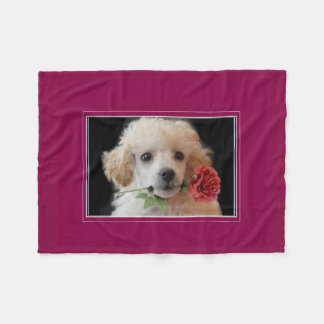 Valentines poodle puppy throw fleece blanket