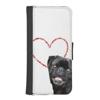 Valentine's pug dog iPhone SE/5/5s wallet case