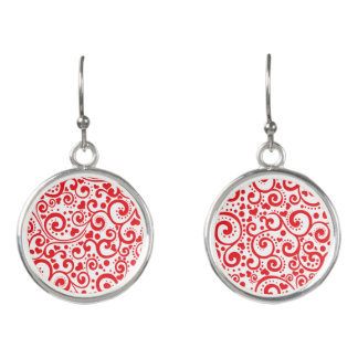 Valentines - Red Hearts and Swirls Seamless Earrings