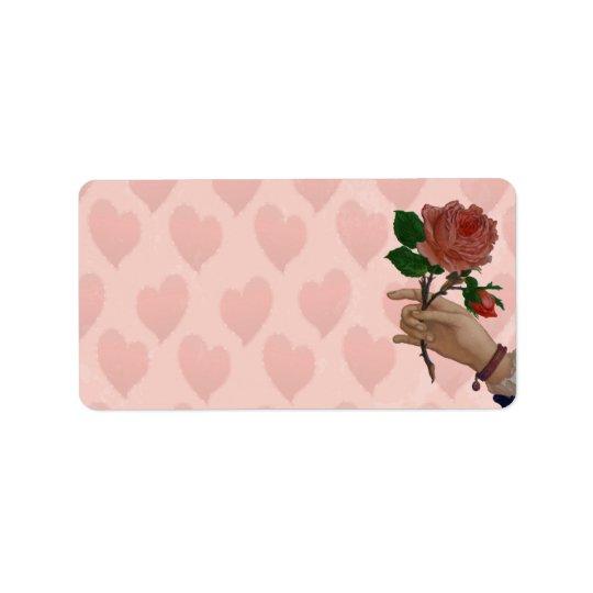 Valentines Red Rose hand of friendship Address Label