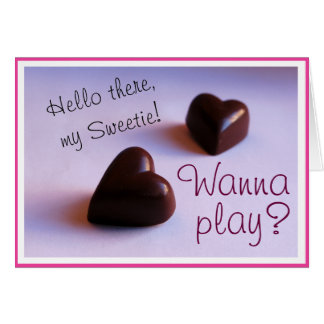 Valentines Romantic Chocolate Hearts Play any Text Card