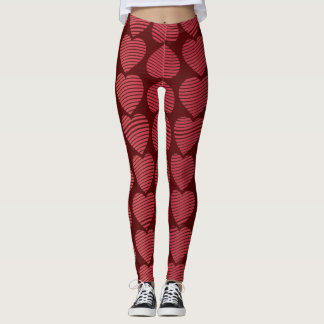 Valentines Rosy Red Hearts Leggings