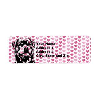 Valentines - Rottweiler Silhouette Return Address Label