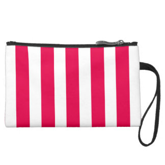 Valentines Stripes in Lipstick Pink and White Wristlet Clutch
