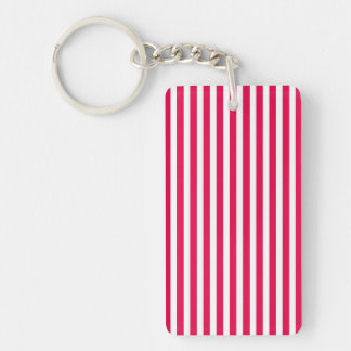 Valentines Stripes in Lipstick Pink and White Rectangular Acrylic Keychains