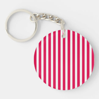 Valentines Stripes in Lipstick Pink and White Key Chains