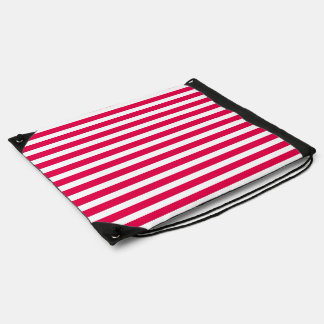 Valentines Stripes in Lipstick Pink and White Drawstring Backpacks